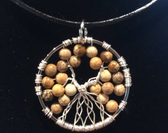 Tree of life Pendant, pictured jasper stones, gift for her, valentines gift