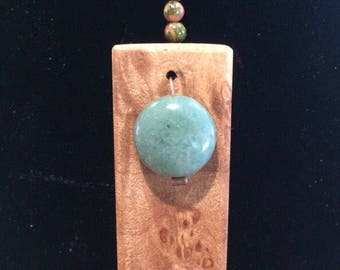Wood and stone pendant for her, valentines gift, maple burl