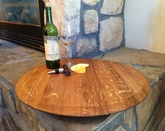 Lazy susan made from repurposed wine barrel food grade oil