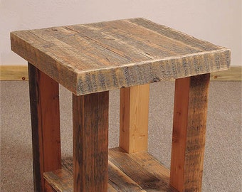 Reclaimed barn wood Rustic Heritage End Table *FREIGHT NOT INCLUDED*