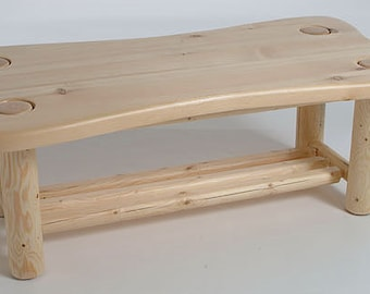 Log furniture Rustic Snow Creek Contour Coffee Table *FREIGHT NOT INCLUDED*