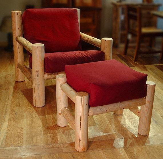 Incredible Log Furniture Rustic Snow Creek Easy Chair Ottoman Set Dailytribune Chair Design For Home Dailytribuneorg