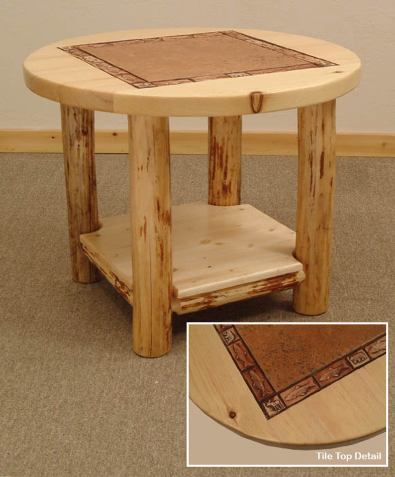 Rustic Log Furniture Mountain Hewn Round Tile Table Etsy