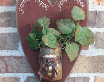 Garden Thyme Heart with Rusty Can
