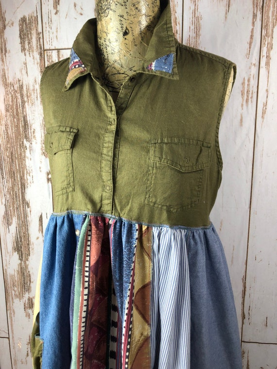 L/M Women's Up Cycled Tunic/Dress, Rustic Look, Shirt Dress, Patchwork,  Unique Clothing, Ties and Snaps, Rustic, Southwestern Feel