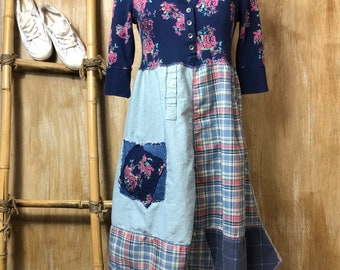 Ladies reclaimed T-shirt dress/tunic, romantic, up cycled, recycled, fun and funky, shabby chic, casual, rustic, re fashioned, one of a kind