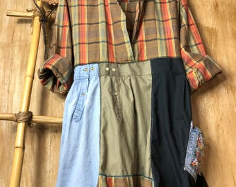 Med/Large Up cycled women's rustic tunic/dress, patchwork, loose and comfortable,refashioned, casual and fun, soft flannel, funky, rustic