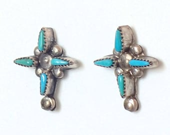 e6dc12bf0 Vintage Zuni Old Earrings Jewelry Inlaid Turquoise Sterling Silver Stud Post  Handmade Earrings