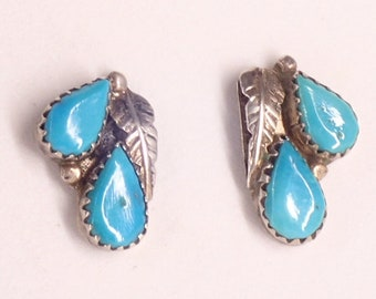 9a71fa05f Vintage Old Navajo Turquoise Earrings Jewelry Inlaid Turquoise Sterling  Silver Stud Post Handmade Earrings Circa 1960s