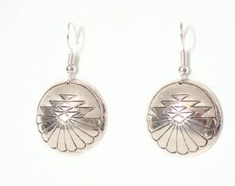 08cbdc3c8 Navajo Jewelry Earrings Sterling Silver Round Textured Dangle Drop Earrings  Florence Tahe Native American Artist