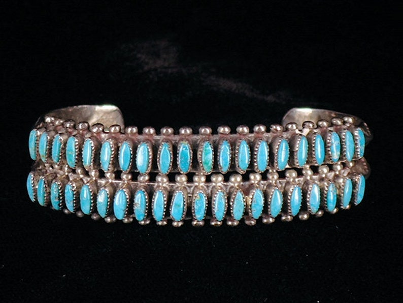 b14a4e8a2db34 Vintage Old Zuni Double Cuff Bracelet Needle Point Turquoise Sterling  Silver Native American Estate Jewelry
