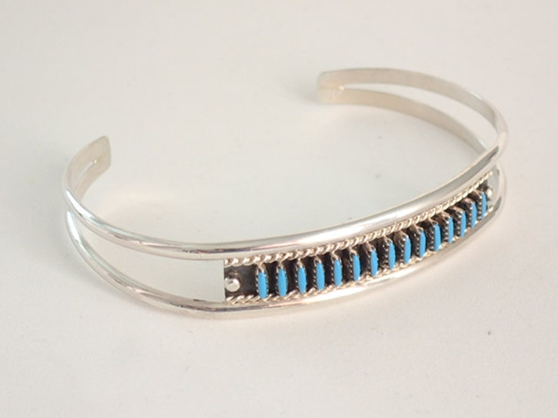6a5b703e3fa49 Zuni Turquoise Cuff Bracelet Jewelry Needle Point Sterling Silver by Sharon  Hustito Native American Artist
