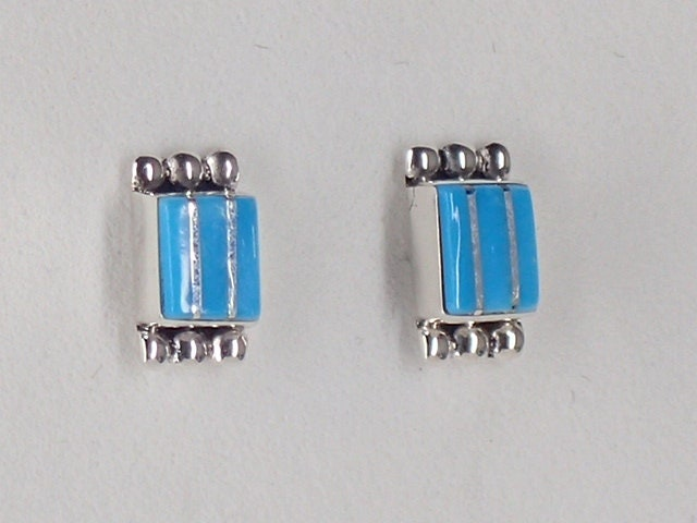 15a3d7c0a9fc1 New! Zuni Stud Turquoise Earrings Jewelry Inlaid Sterling Silver Small  Handmade by Elrick Seoutewa Native American Artist