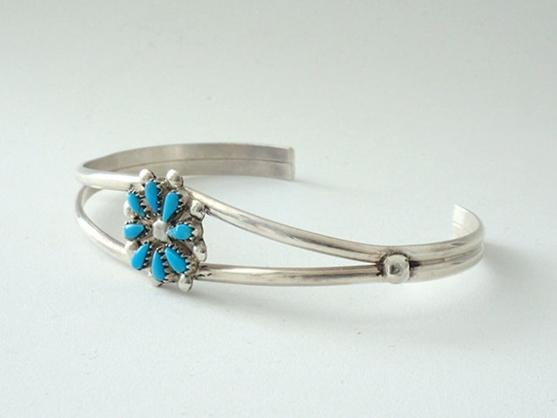 227f163645bf0 Zuni Turquoise Cuff Bracelet Jewelry Flower Design Sterling Silver by David  Leekity Native American Artist