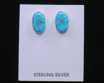 New! Zuni Jewelry Inlaid Turquoise Sterling Silver Handmade Stud Earrings Elrick Seoutewa - FREE SHIP