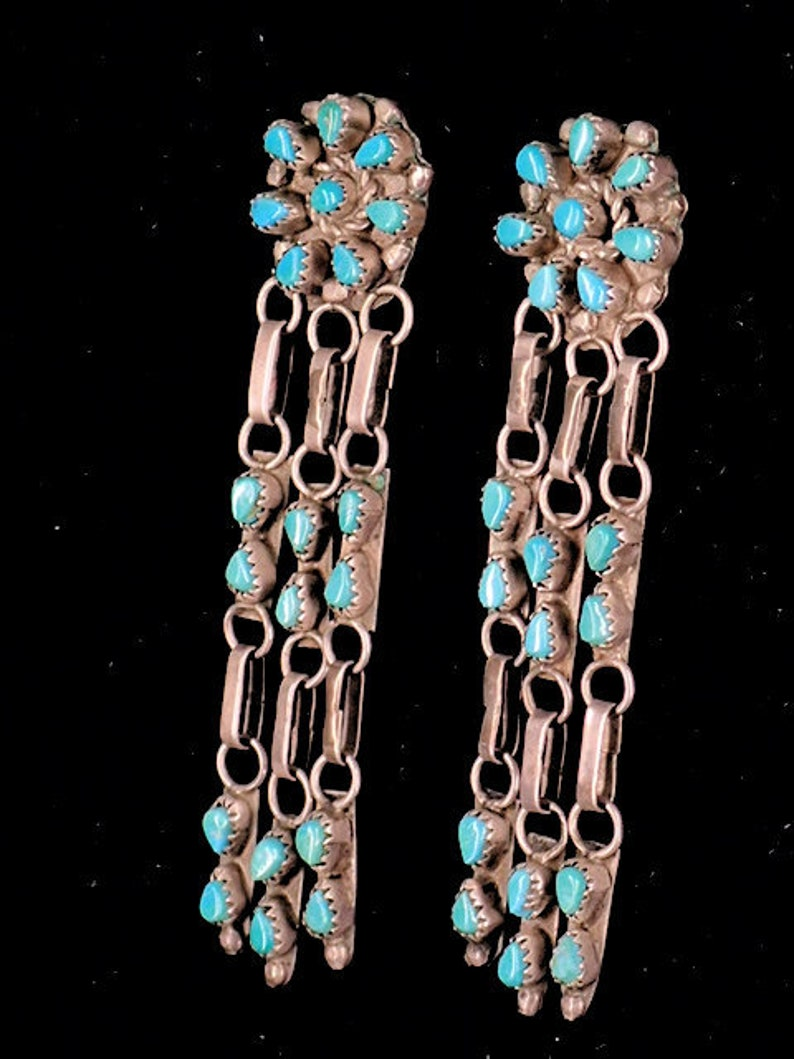 eabab45d3bf56 Vintage Collectible Earrings Old Zuni Turquoise Chandelier Sterling Silver  Stud Earrings by Native American Artist