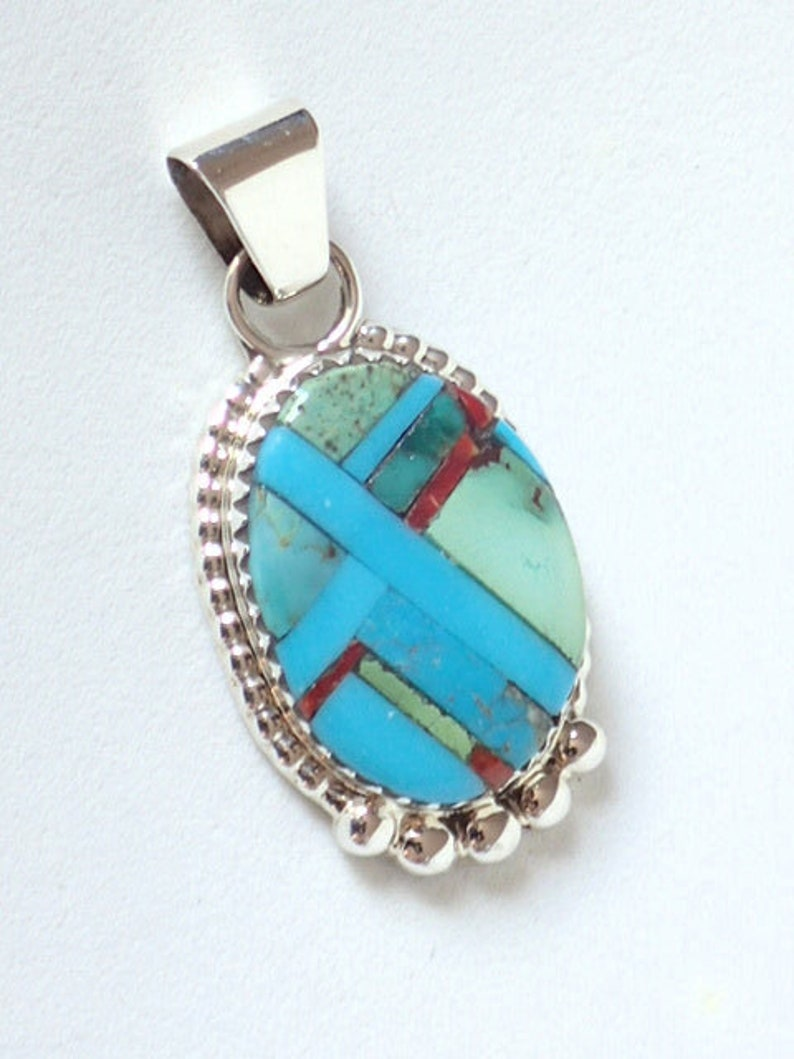 2d0cbd060b4b6 New! Zuni Native American Indian Jewelry Turquoise Inlay Pendant with  Sterling Silver Bezel Wayne Haloo - Signed