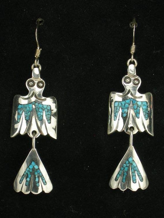 Native American Sterling Silver Black Marble Dangle Slab Earrings Navajo