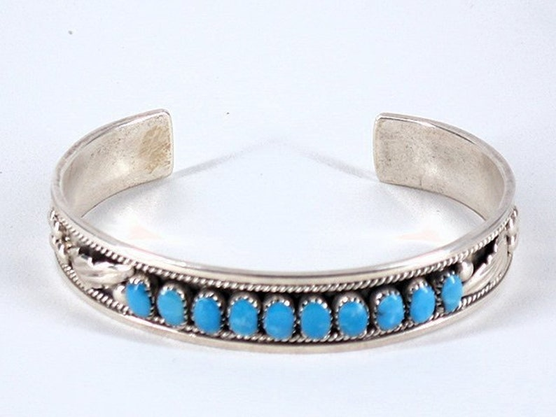 2657aa5286ab8 Vintage Collectible Native American Old Zuni Turquoise Sterling Silver Cuff  Bracelet - Signed