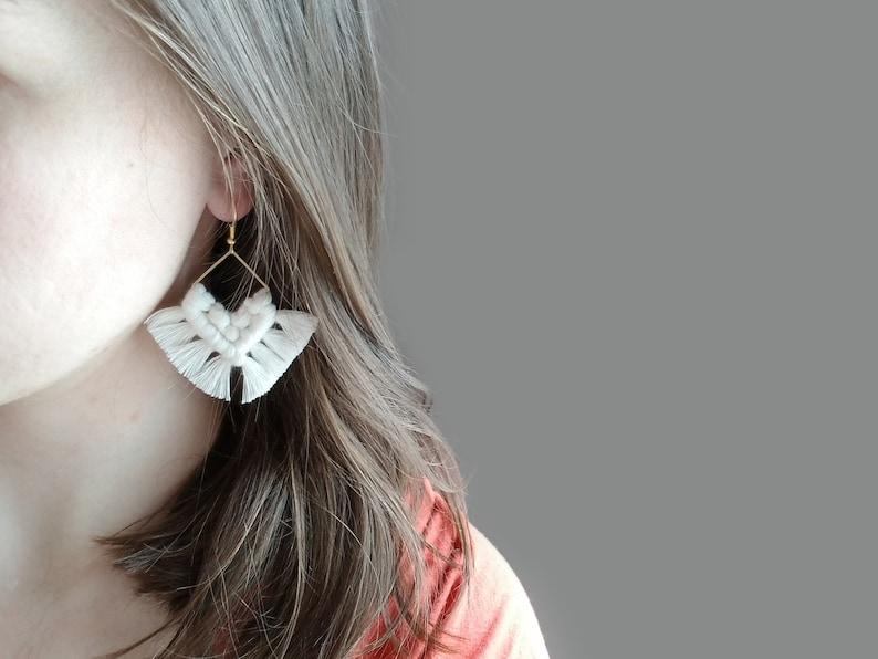 SQUARE earring boho earrings dangle earring fringe earring macrame earring statement earring Macrame earrings bridesmaid gift