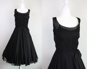 2ee50cf88cb9 Vintage 1950s Black Silk Chiffon Designer CEIL CHAPMAN Fit & Flare Swing  Dress