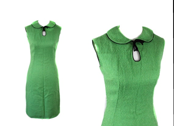 Vintage 1960s Bright Green Peter Pan Collar Mod Wi