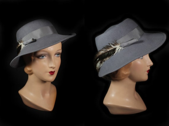 Vintage 1970s Gray Wool Women's Fedora Hat With Fe