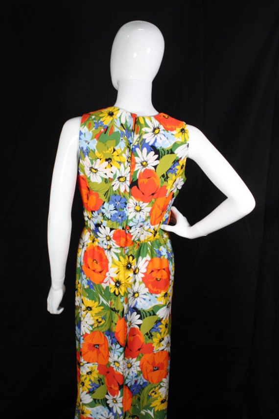 Vintage 1970s Bright Floral Polyester Maxi Dress … - image 6