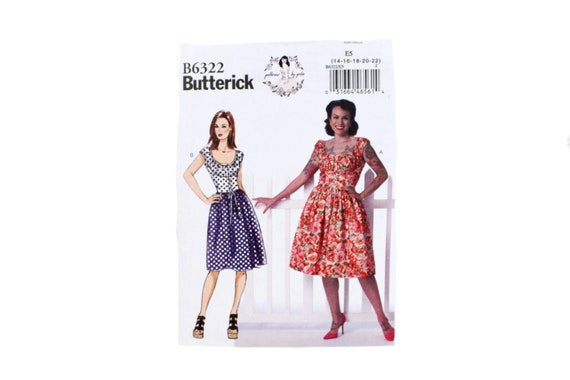 Butterick 6322 Patterns by Gertie Vintage 1950s Style Pinup Dress 14-22  Plus Size