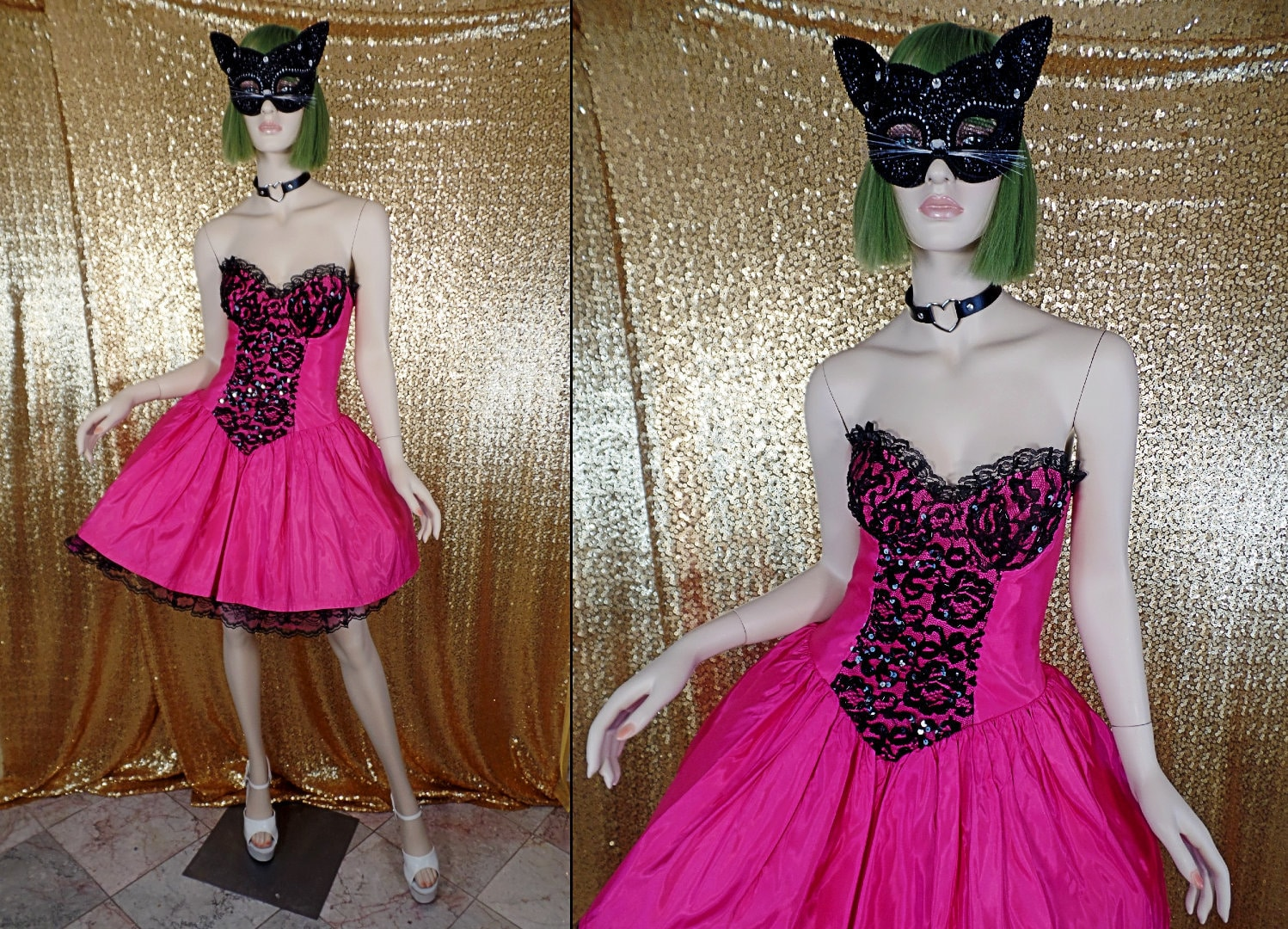 80s Dresses   Casual to Party Dresses Vintage 1980S Tadashi Hot Pink  Black Strapless Tutu PartyProm Dress - Small $19.00 AT vintagedancer.com