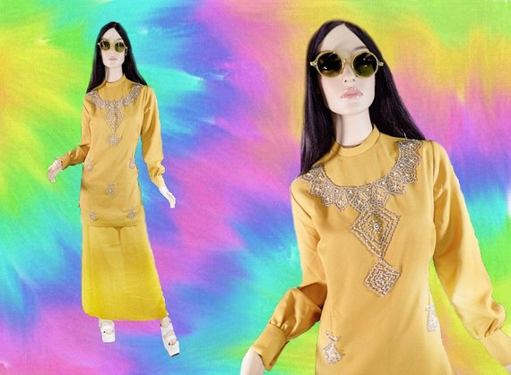 Vintage Late 1960s Golden Yellow Hand-Beaded Psych