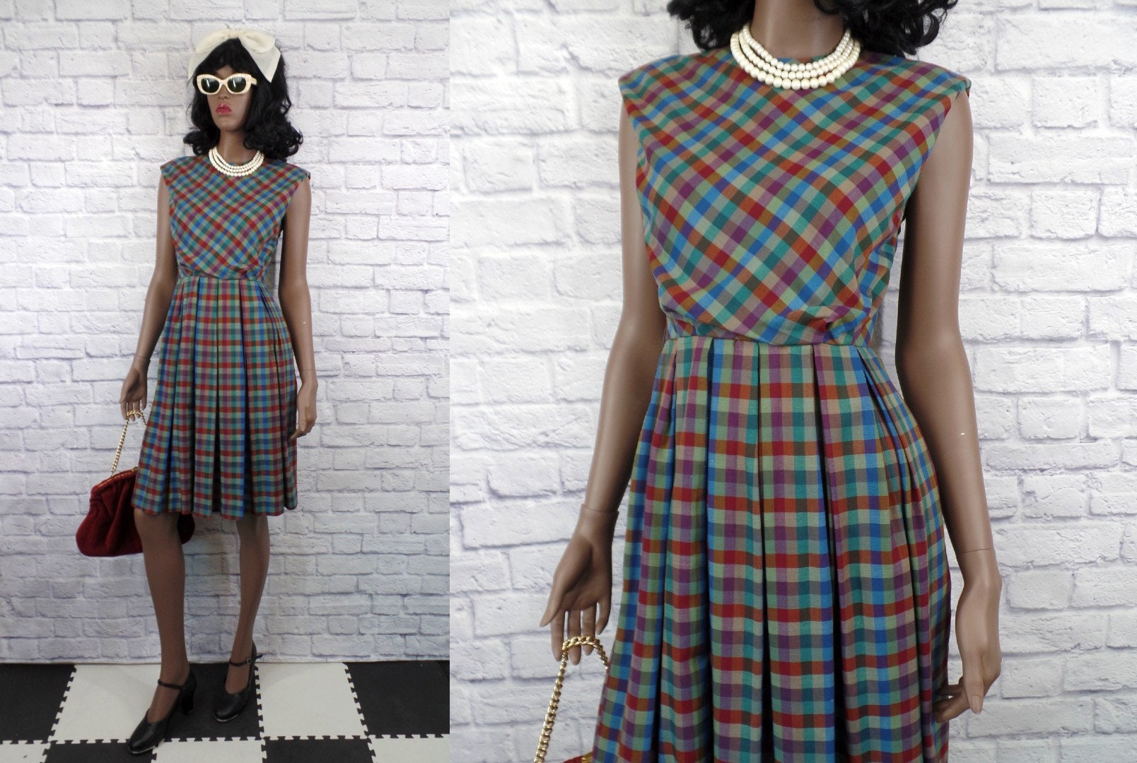 60s -70s Jewelry – Necklaces, Earrings, Rings, Bracelets Vintage 1960S Sleeveless Cotton Rainbow Plaid Day Dress - Small Bin D-05 $19.00 AT vintagedancer.com