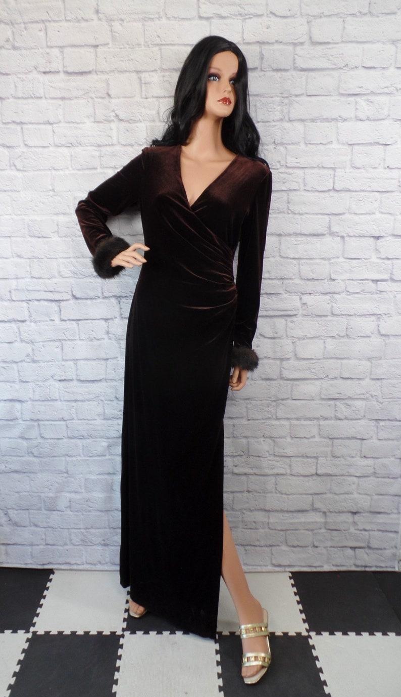 Vintage 1990s Dark Brown Velvet Velour Slinky Faux Fur Trimmed Maxi Dress by Cachet BIN D-10 Small