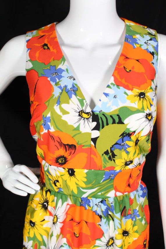 Vintage 1970s Bright Floral Polyester Maxi Dress … - image 3