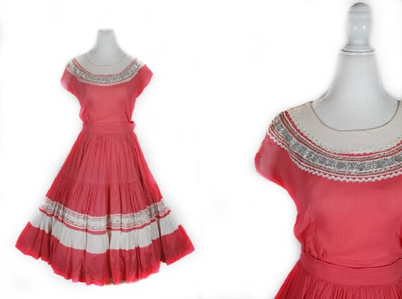 Vintage 1950s Coral Pink Two Piece Western Patio S