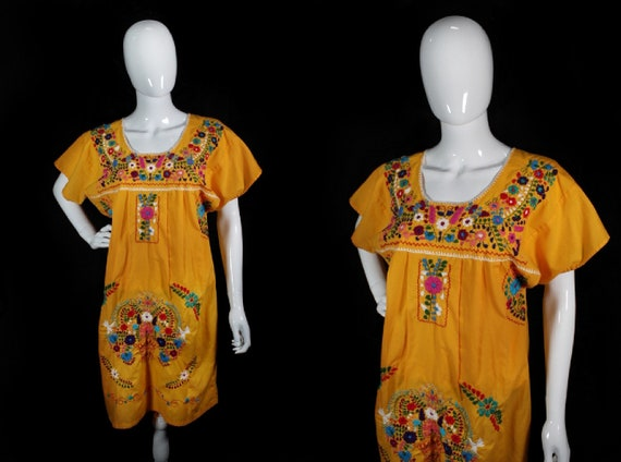 Vintage 1970s Golden Yellow Embroidered Mexican Pu