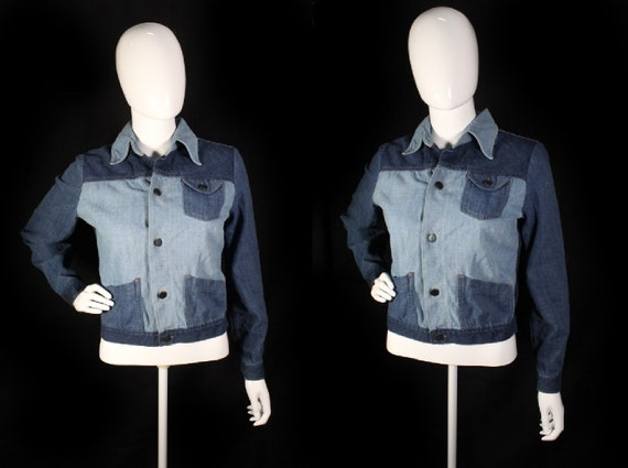 Vintage 1970s Patchwork Denim Jacket - Small