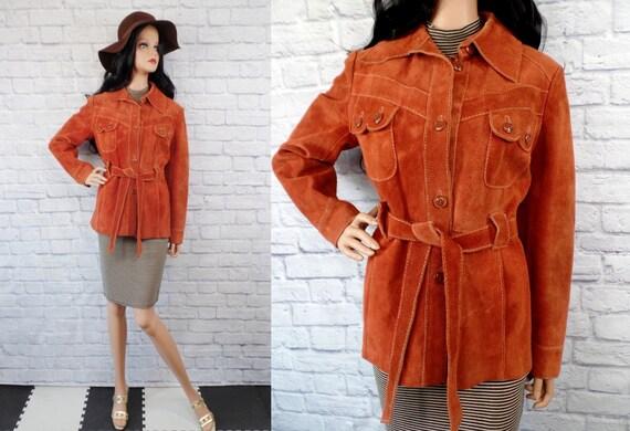 Vintage 1970s Burnt Orange Suede Boho Belted Leath