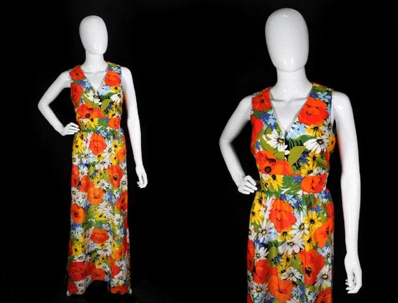 Vintage 1970s Bright Floral Polyester Maxi Dress