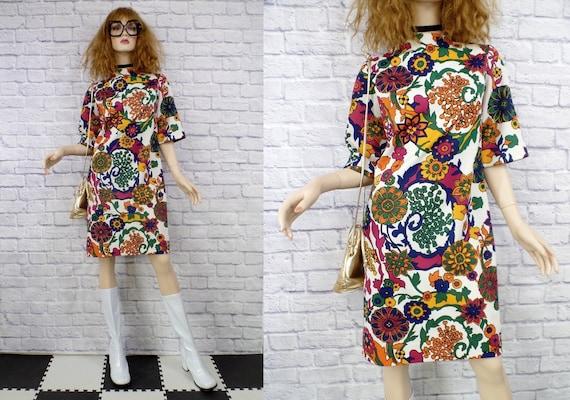 Vintage 1960s Mod MR. SIMON Psychedelic Floral Pol