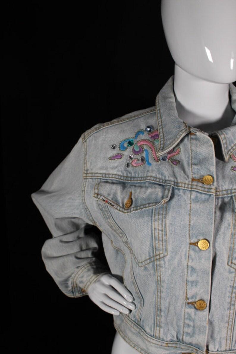 Small Vintage 1980s Dakota Blue Bedazzled Acid Wash Denim Jacket BIN D-09