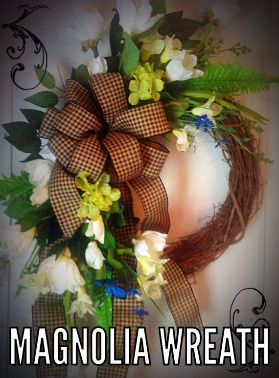 Magnolia Door Wreath Magnolia Front Door Wreath Summer Door Etsy