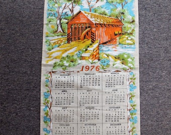 Vintage 1976 Covered Bridge Hanging Tea Towel Calendar