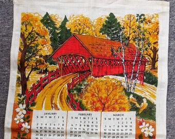 Vintage 1972 Covered Bridge Fall Hanging Tea Towel Calendar