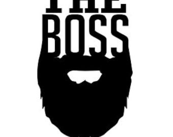 The Boss Beard Vinyl Decal