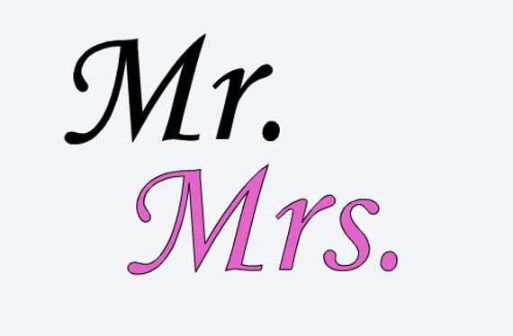 Vinyl Decal For Crafts Wedding Signs Stencils Large 2125 Mr and Mrs
