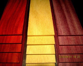 "18 Pieces Exotic Yellowheart, Purpleheart, Padauk Thins 12"" X 3"" X 1/8"""
