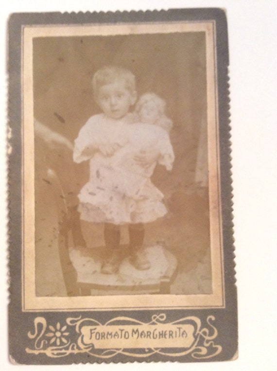 CARTE De VISITE CDV Cabinet Card Italian Girl With Doll