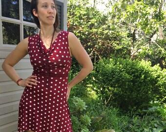 Magenta dot sweetheart dress