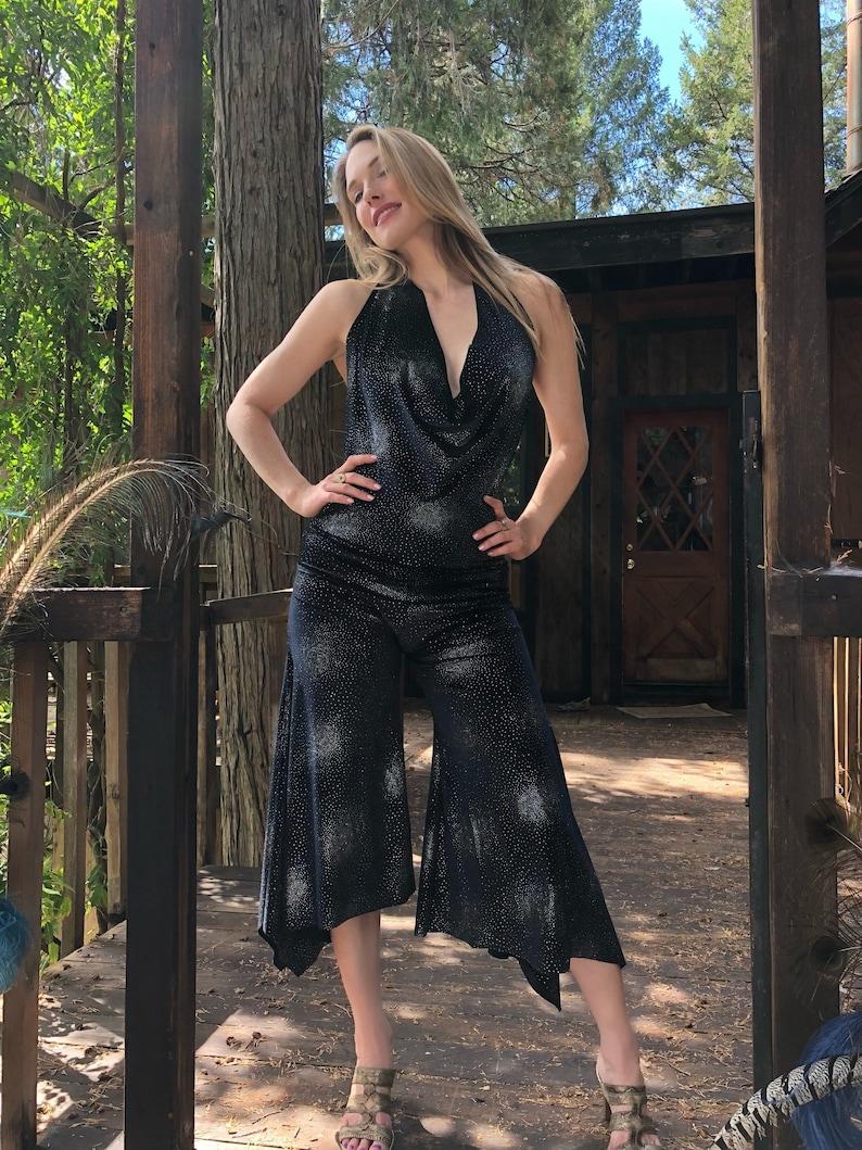 silver sparkle velvet pantsuit image 0